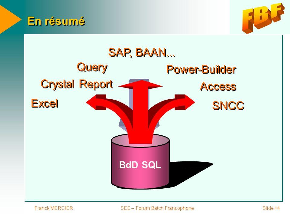 Franck MERCIERSEE – Forum Batch FrancophoneSlide 14 En résumé BdD SQL Access Power-Builder SAP, BAAN... Excel Crystal Report Query SNCC