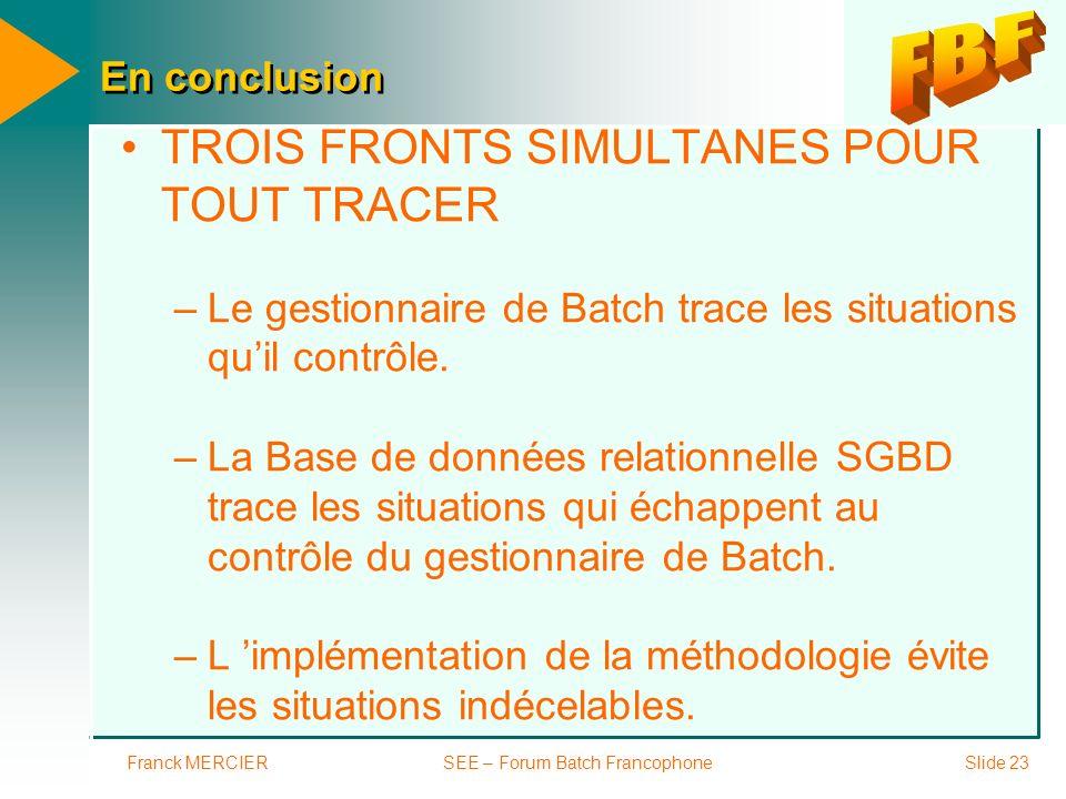 Franck MERCIERSEE – Forum Batch FrancophoneSlide 23 En conclusion TROIS FRONTS SIMULTANES POUR TOUT TRACER –Le gestionnaire de Batch trace les situati