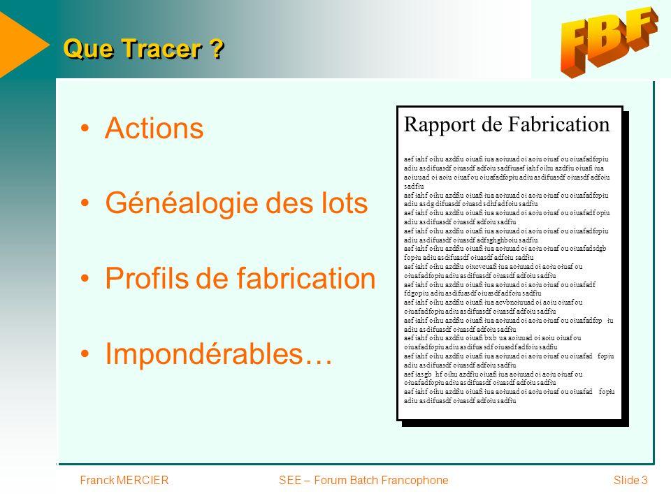 Franck MERCIERSEE – Forum Batch FrancophoneSlide 14 En résumé BdD SQL Access Power-Builder SAP, BAAN...