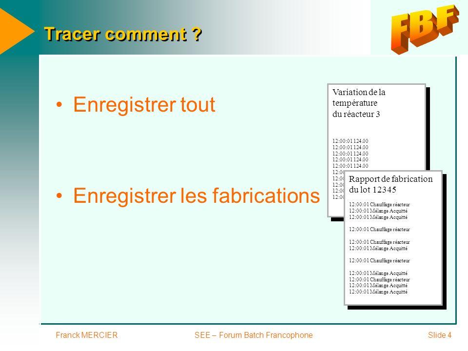 Franck MERCIERSEE – Forum Batch FrancophoneSlide 4 Tracer comment ? Enregistrer tout Enregistrer les fabrications Variation de la température du réact