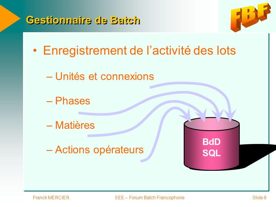 Franck MERCIERSEE – Forum Batch FrancophoneSlide 9 Enregistrement de lactivité de latelier –Variables process –Événements –Alarmes BdD SQL Base de données relationnelle