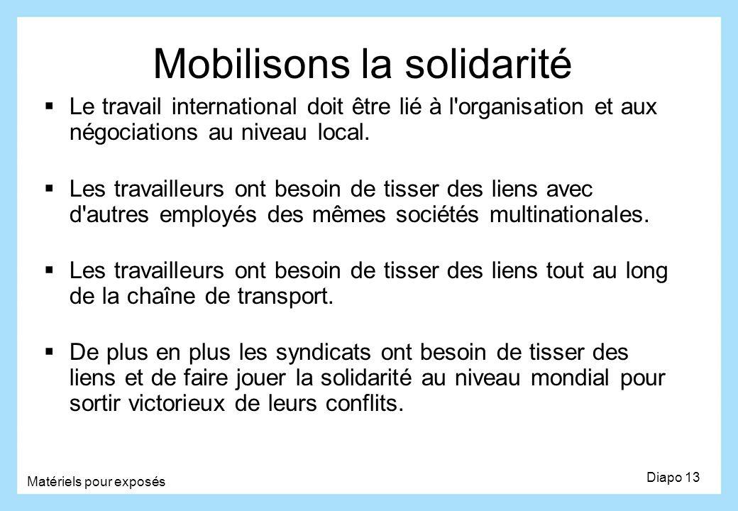 Mobilisons la solidarité Le travail international doit être lié à l'organisation et aux négociations au niveau local. Les travailleurs ont besoin de t