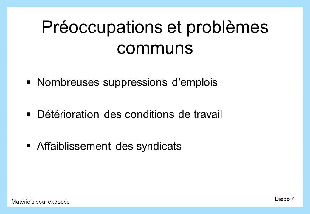 Préoccupations et problèmes communs Nombreuses suppressions d'emplois Détérioration des conditions de travail Affaiblissement des syndicats Diapo 7 Ma