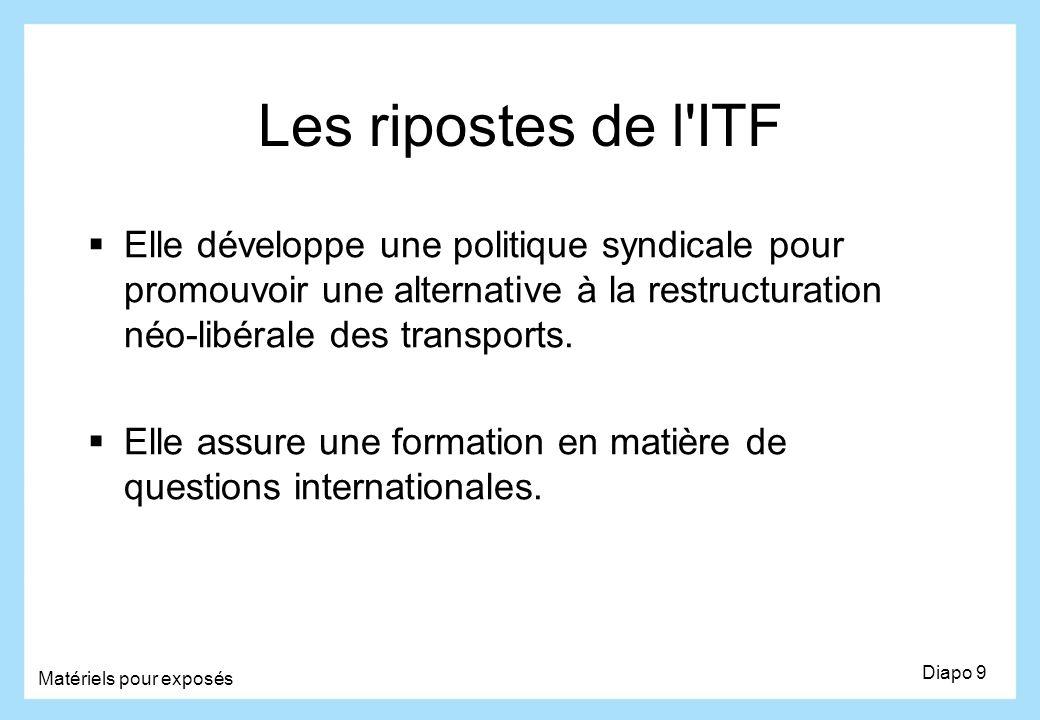 Les ripostes de l'ITF Elle développe une politique syndicale pour promouvoir une alternative à la restructuration néo-libérale des transports. Elle as