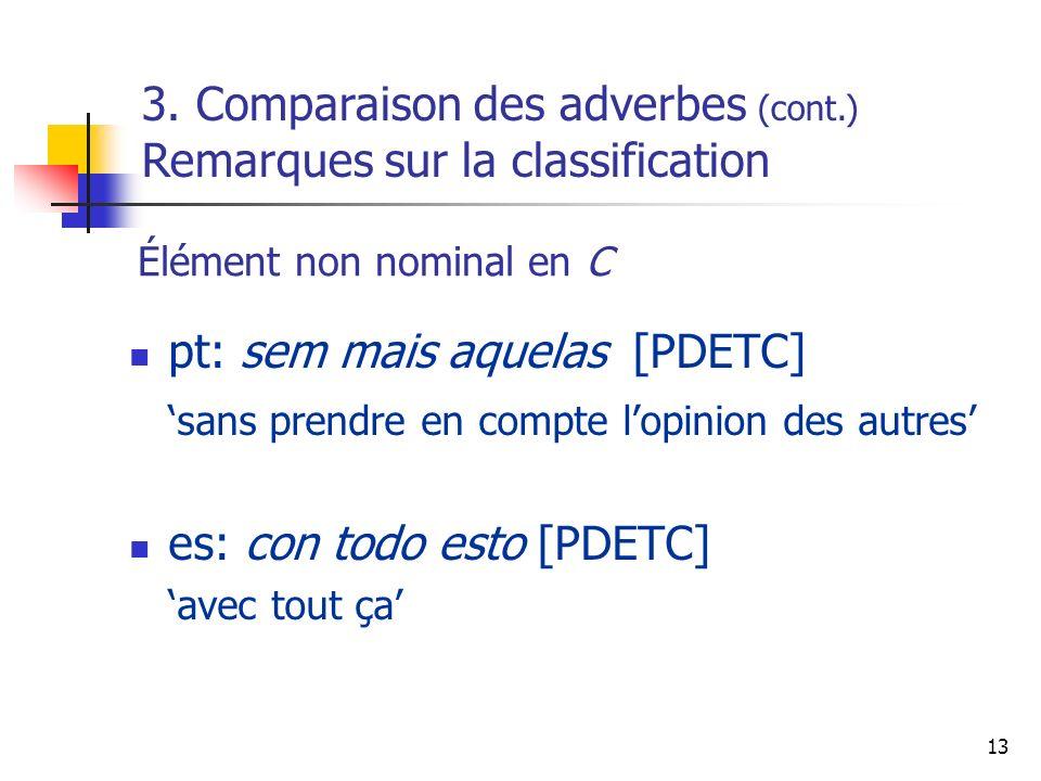 13 Élément non nominal en C pt: sem mais aquelas [PDETC] sans prendre en compte lopinion des autres es: con todo esto [PDETC] avec tout ça 3. Comparai