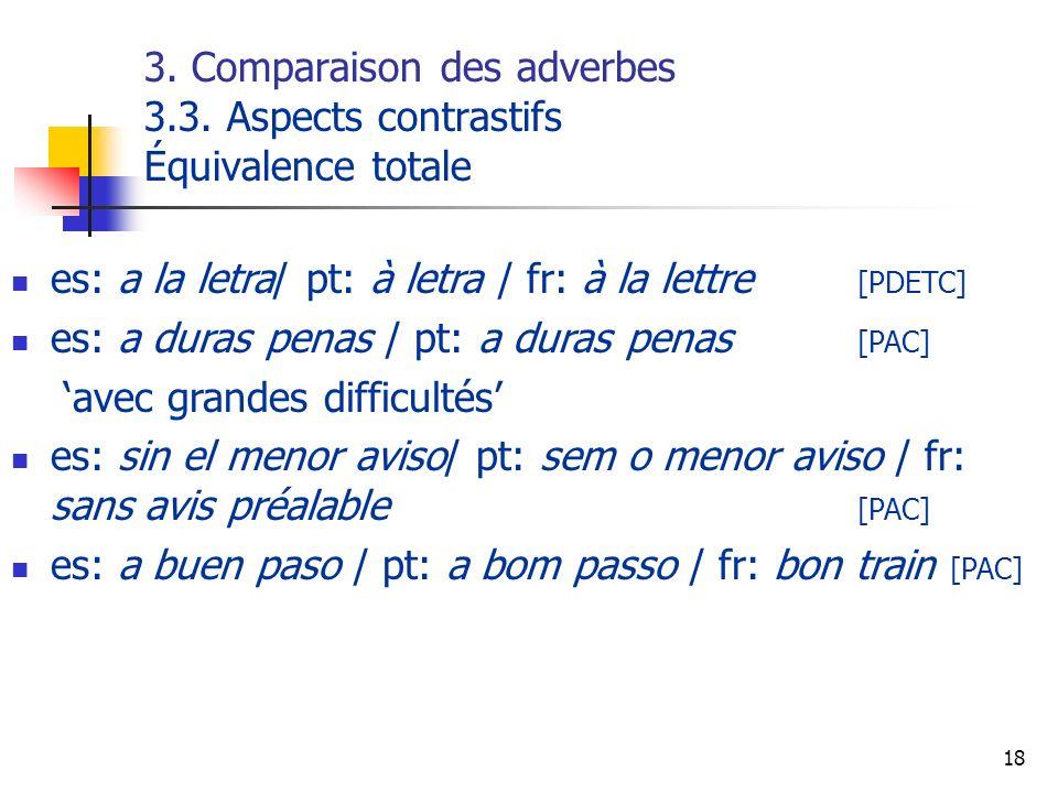18 3. Comparaison des adverbes 3.3. Aspects contrastifs Équivalence totale es: a la letra/ pt: à letra / fr: à la lettre [PDETC] es: a duras penas / p
