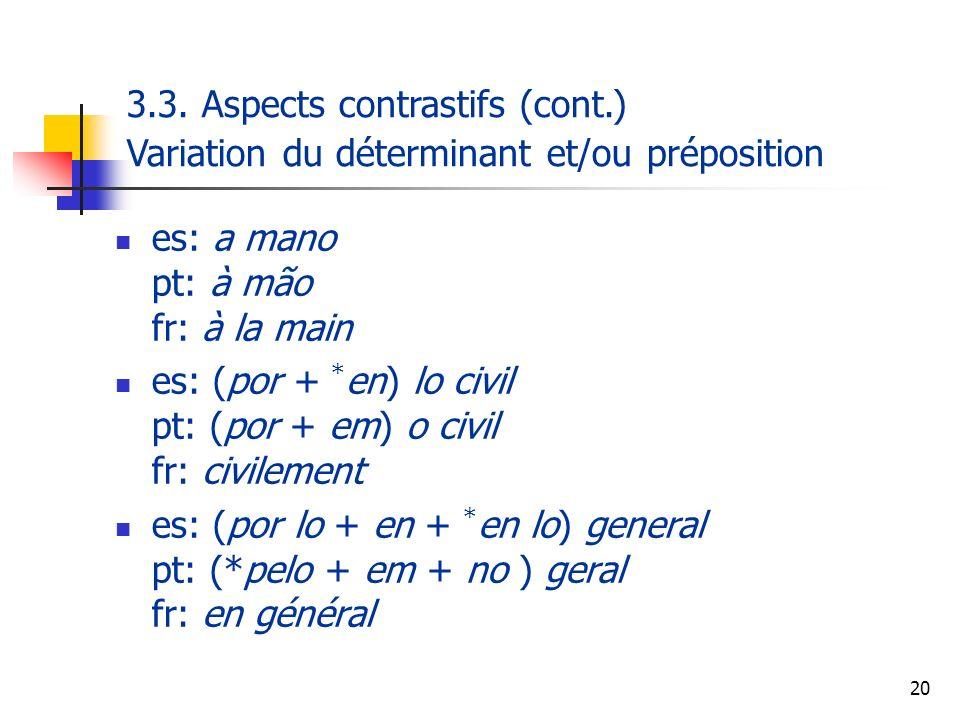20 es: a mano pt: à mão fr: à la main es: (por + * en) lo civil pt: (por + em) o civil fr: civilement es: (por lo + en + * en lo) general pt: (*pelo +
