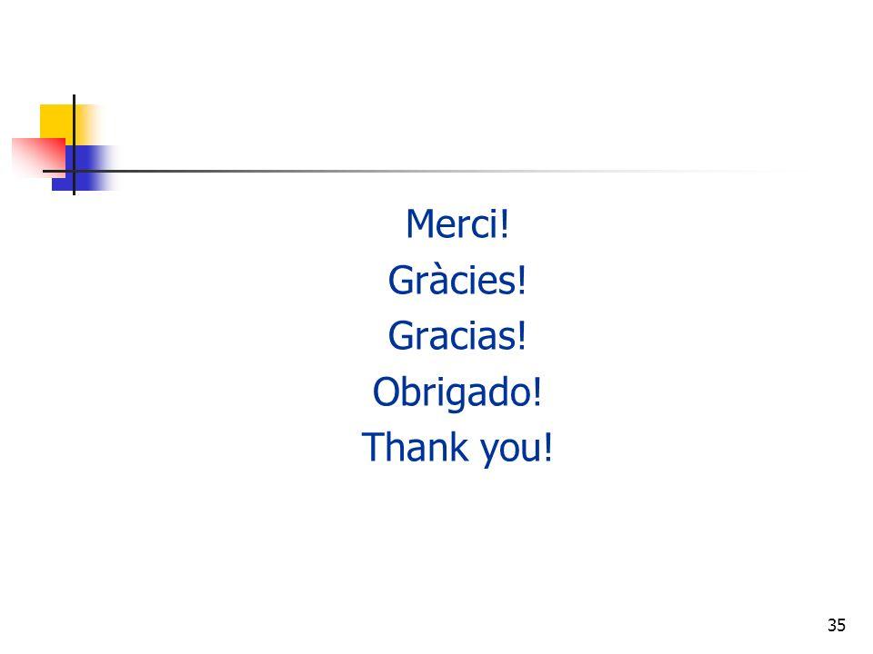 35 Merci! Gràcies! Gracias! Obrigado! Thank you!