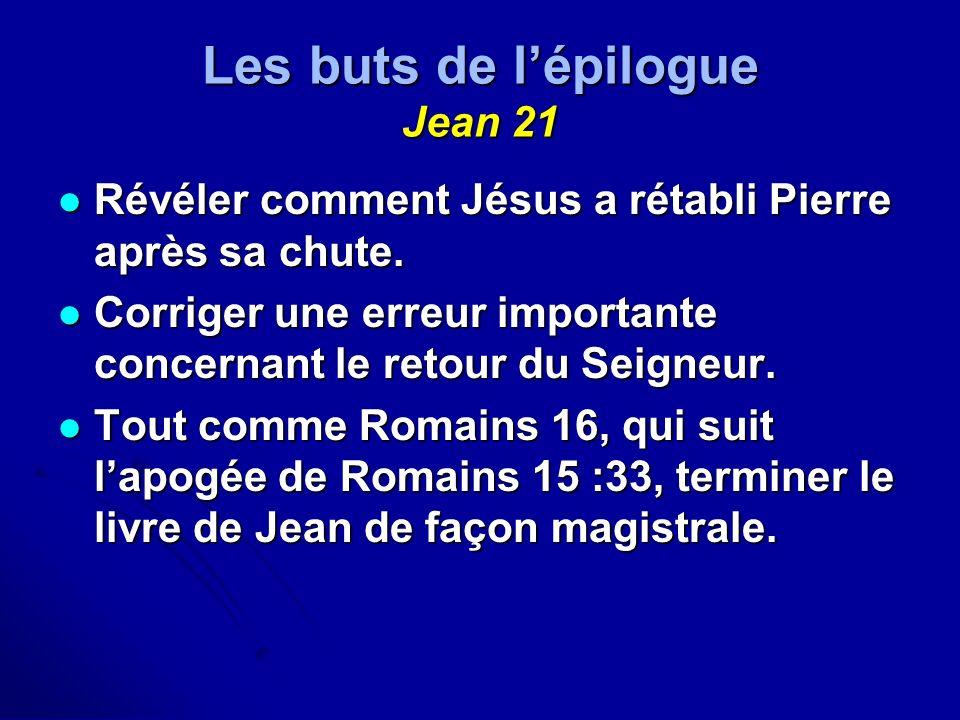 Les buts de lépilogue Jean 21 Révéler comment Jésus a rétabli Pierre après sa chute. Révéler comment Jésus a rétabli Pierre après sa chute. Corriger u