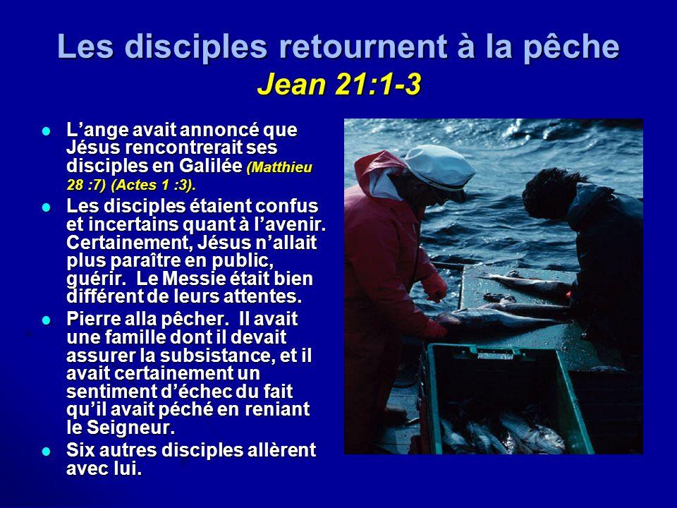 Les disciples retournent à la pêche Jean 21:1-3 Lange avait annoncé que Jésus rencontrerait ses disciples en Galilée (Matthieu 28 :7) (Actes 1 :3). La