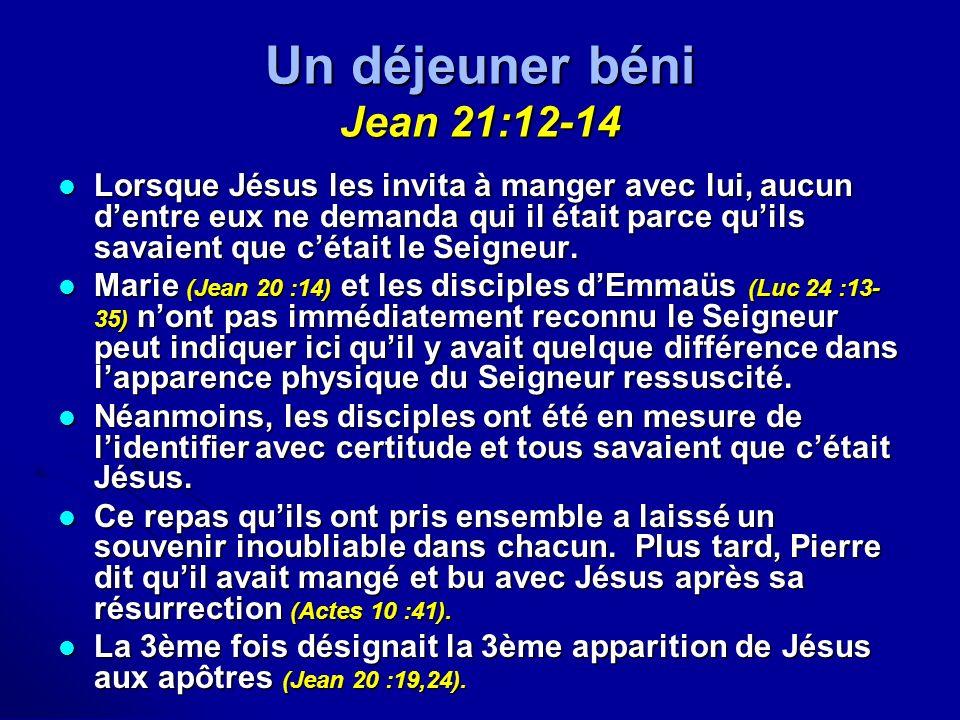 Un déjeuner béni Jean 21:12-14 Lorsque Jésus les invita à manger avec lui, aucun dentre eux ne demanda qui il était parce quils savaient que cétait le