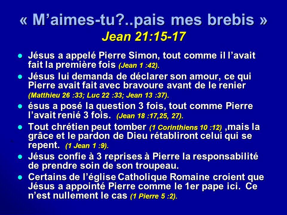 « Maimes-tu?..pais mes brebis » Jean 21:15-17 Jésus a appelé Pierre Simon, tout comme il lavait fait la première fois (Jean 1 :42). Jésus a appelé Pie
