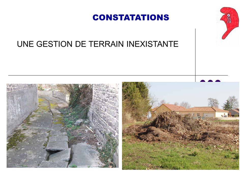CONSTATATIONS UNE GESTION DE TERRAIN INEXISTANTE