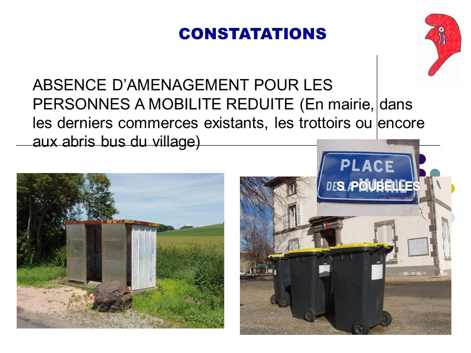 CONSTATATIONS ABSENCE DAMENAGEMENT POUR LES PERSONNES A MOBILITE REDUITE (En mairie, dans les derniers commerces existants, les trottoirs ou encore aux abris bus du village)