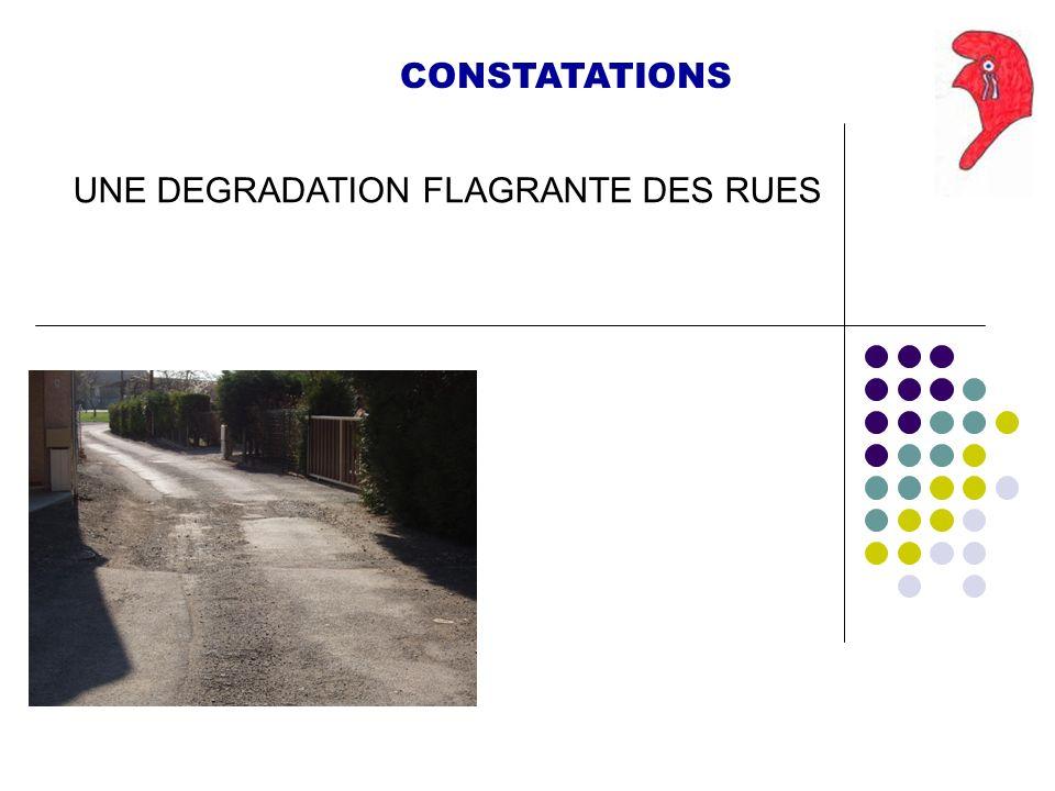 CONSTATATIONS UNE DEGRADATION FLAGRANTE DES RUES