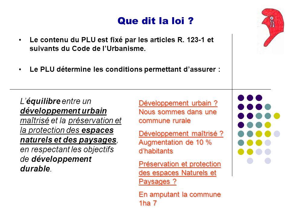 Que dit la loi ? Le contenu du PLU est fixé par les articles R. 123-1 et suivants du Code de lUrbanisme. Le PLU détermine les conditions permettant da