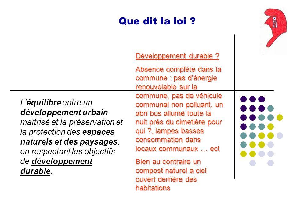 Que dit la loi ? Léquilibre entre un développement urbain maîtrisé et la préservation et la protection des espaces naturels et des paysages, en respec