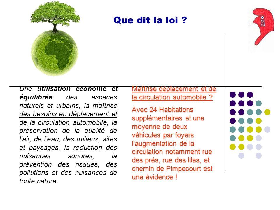 Que dit la loi ? Une utilisation économe et équilibrée des espaces naturels et urbains, la maîtrise des besoins en déplacement et de la circulation au