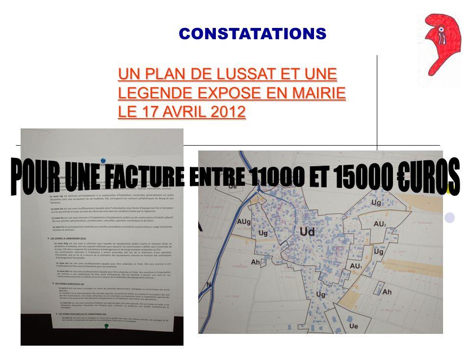 UN PLAN DE LUSSAT ET UNE LEGENDE EXPOSE EN MAIRIE LE 17 AVRIL 2012