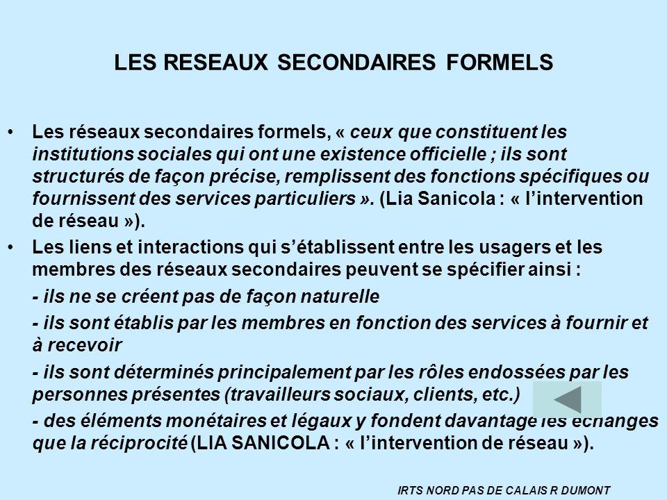LES RESEAUX SECONDAIRES FORMELS Les réseaux secondaires formels, « ceux que constituent les institutions sociales qui ont une existence officielle ; i