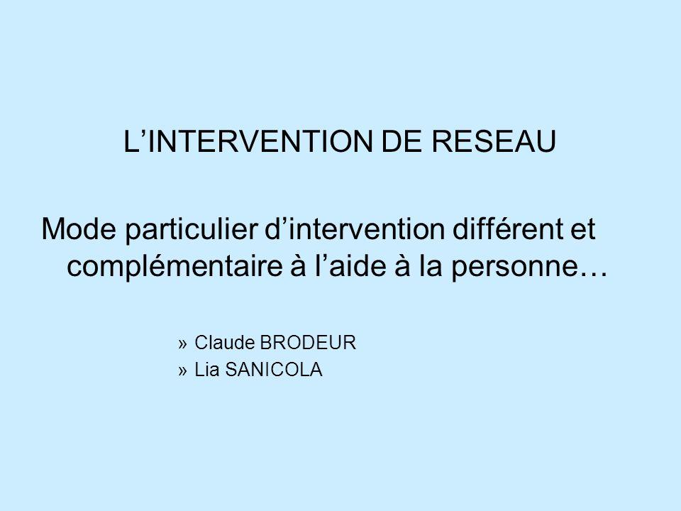 LINTERVENTION DE RESEAU Mode particulier dintervention différent et complémentaire à laide à la personne… »Claude BRODEUR »Lia SANICOLA
