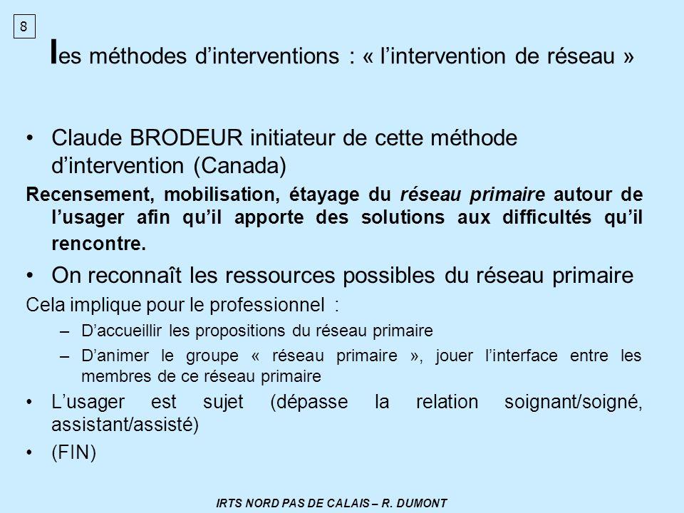 l es méthodes dinterventions : « lintervention de réseau » Claude BRODEUR initiateur de cette méthode dintervention (Canada) Recensement, mobilisation