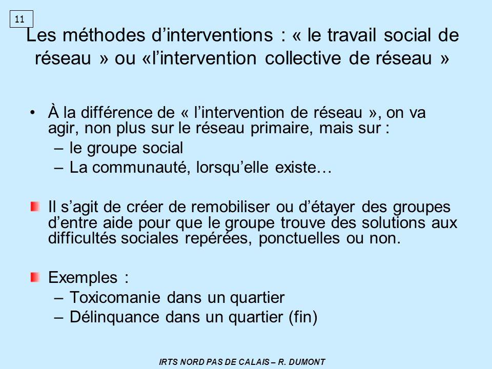 Les méthodes dinterventions : « le travail social de réseau » ou «lintervention collective de réseau » À la différence de « lintervention de réseau »,
