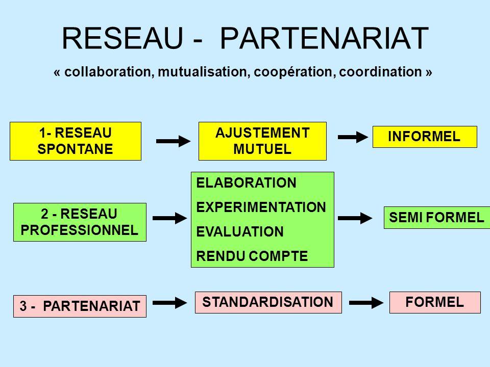RESEAU - PARTENARIAT « collaboration, mutualisation, coopération, coordination » 1- RESEAU SPONTANE 3 - PARTENARIAT 2 - RESEAU PROFESSIONNEL AJUSTEMEN