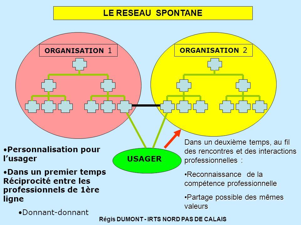 LE RESEAU SPONTANE ORGANISATION 2 ORGANISATION 1 USAGER Personnalisation pour lusager Dans un premier temps Réciprocité entre les professionnels de 1è