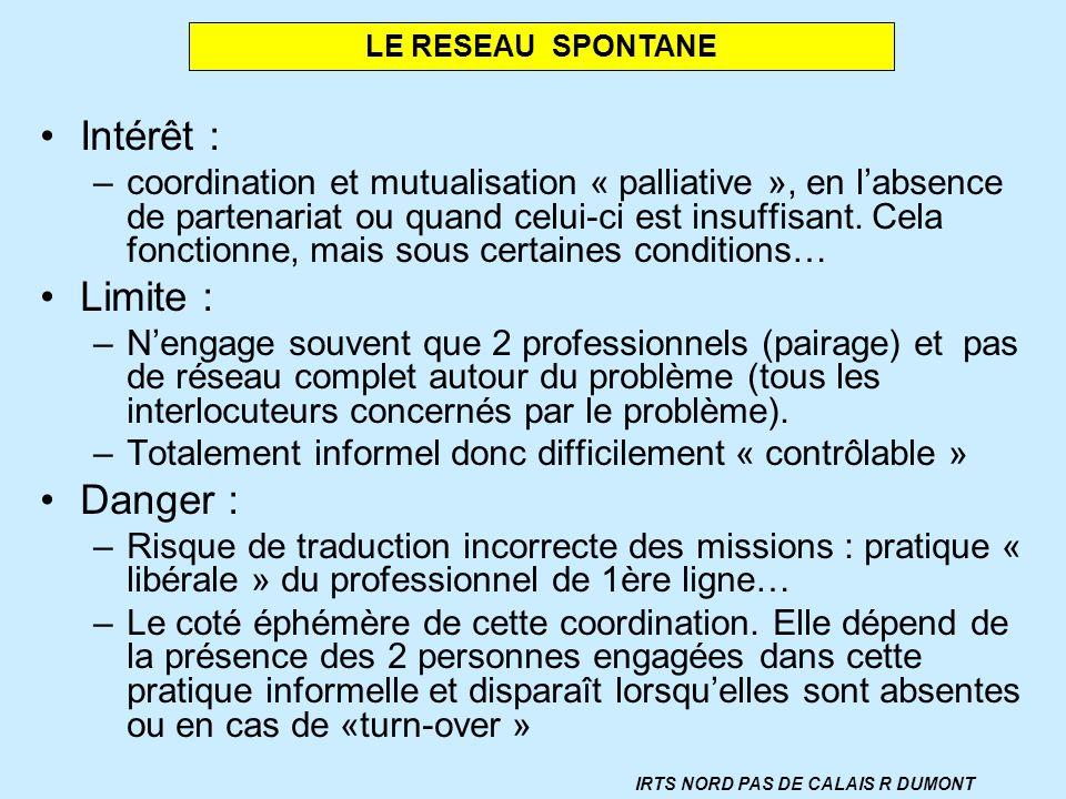 Intérêt : –coordination et mutualisation « palliative », en labsence de partenariat ou quand celui-ci est insuffisant. Cela fonctionne, mais sous cert