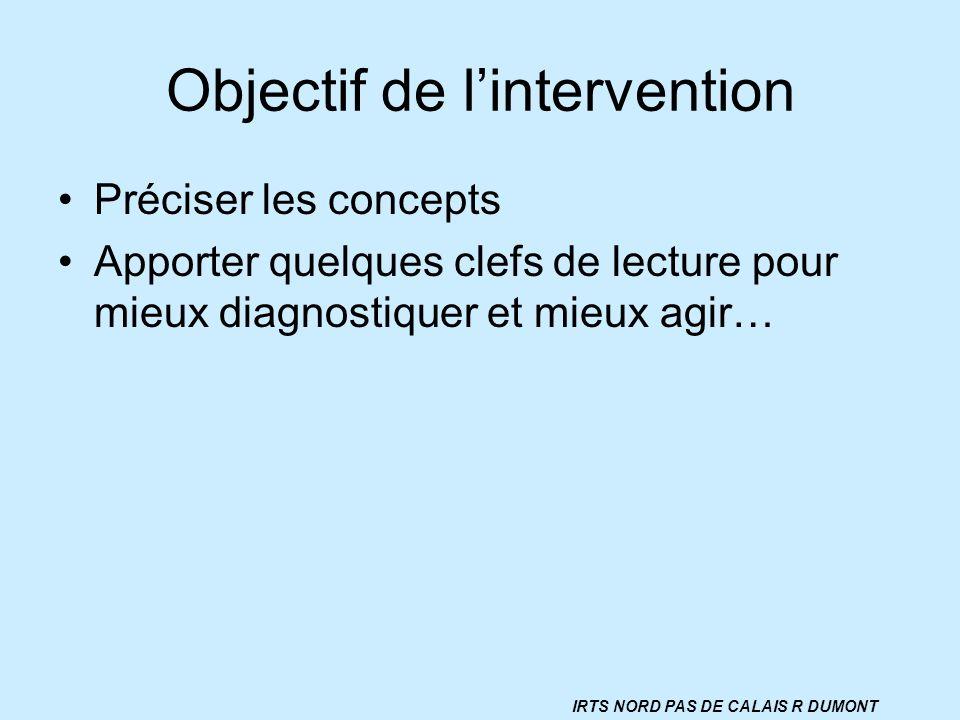 Objectif de lintervention Préciser les concepts Apporter quelques clefs de lecture pour mieux diagnostiquer et mieux agir… IRTS NORD PAS DE CALAIS R D