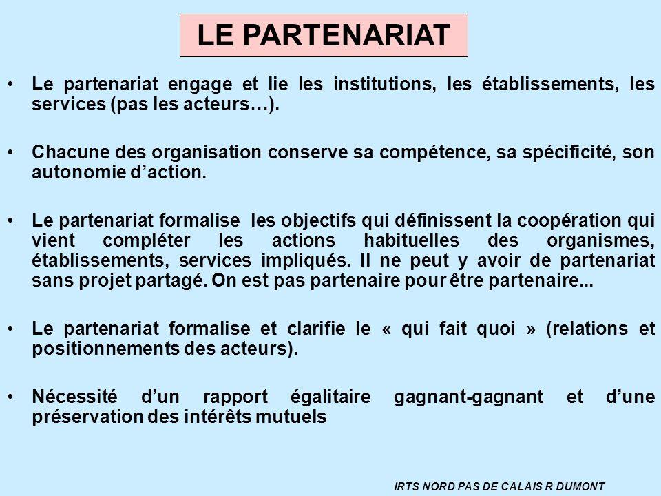 Le partenariat engage et lie les institutions, les établissements, les services (pas les acteurs…). Chacune des organisation conserve sa compétence, s