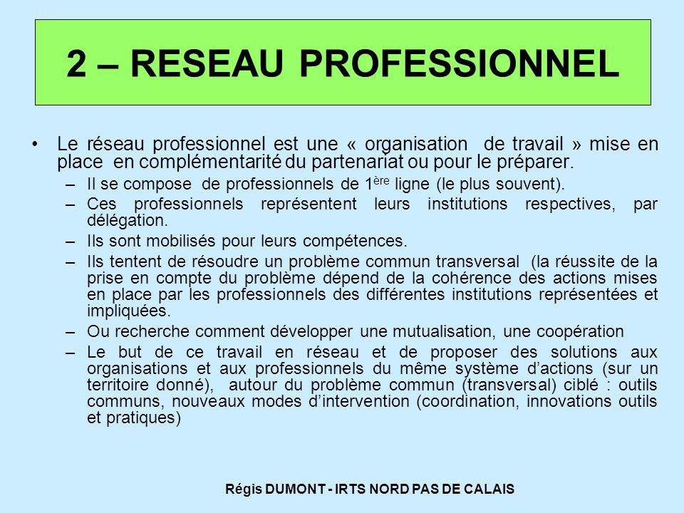 Le réseau professionnel est une « organisation de travail » mise en place en complémentarité du partenariat ou pour le préparer. –I–Il se compose de p