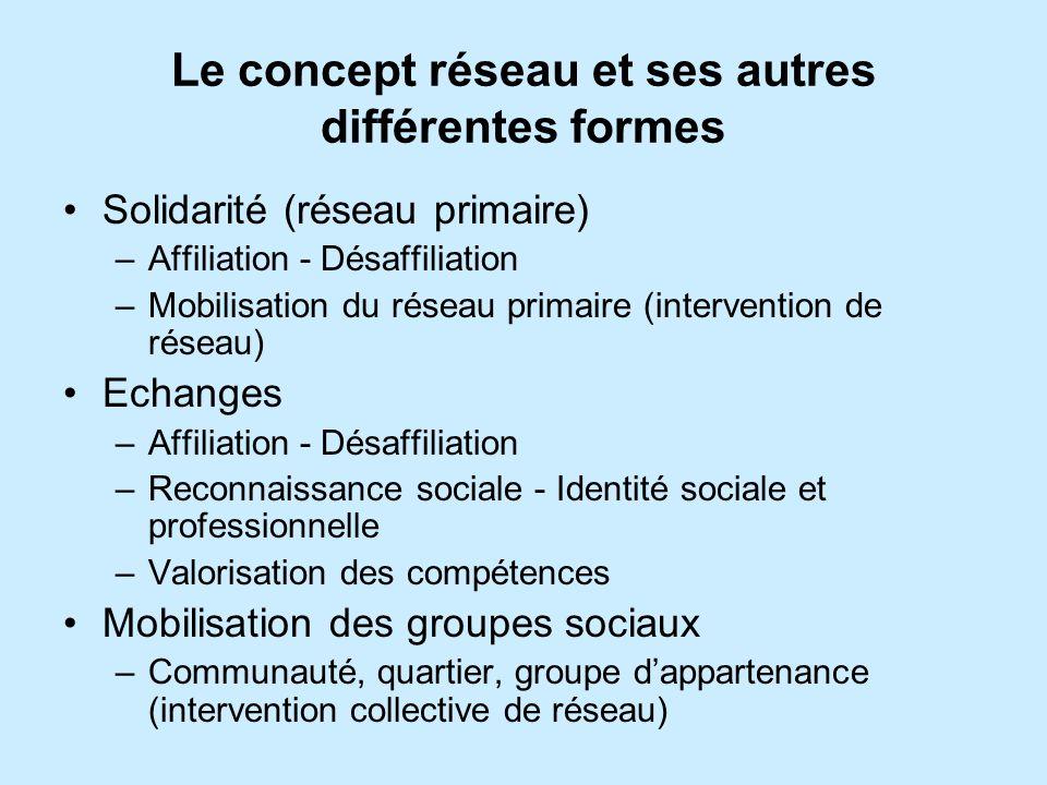 Le concept réseau et ses autres différentes formes Solidarité (réseau primaire) –Affiliation - Désaffiliation –Mobilisation du réseau primaire (interv