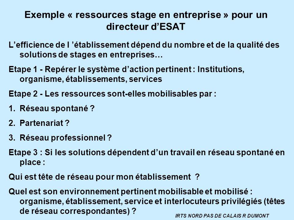 Exemple « ressources stage en entreprise » pour un directeur dESAT Lefficience de l établissement dépend du nombre et de la qualité des solutions de s