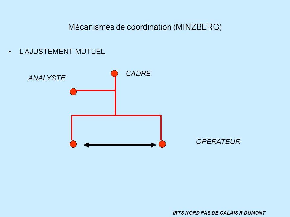 Mécanismes de coordination (MINZBERG) LAJUSTEMENT MUTUEL CADRE OPERATEUR ANALYSTE IRTS NORD PAS DE CALAIS R DUMONT