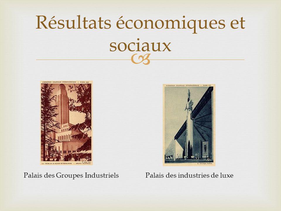 Résultats économiques et sociaux Palais des Groupes IndustrielsPalais des industries de luxe