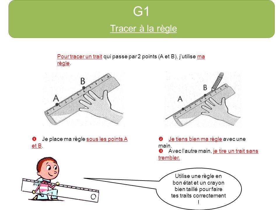 G1 Tracer à la règle Pour tracer un trait qui passe par 2 points (A et B), jutilise ma règle. Je place ma règle sous les points A et B. Je tiens bien