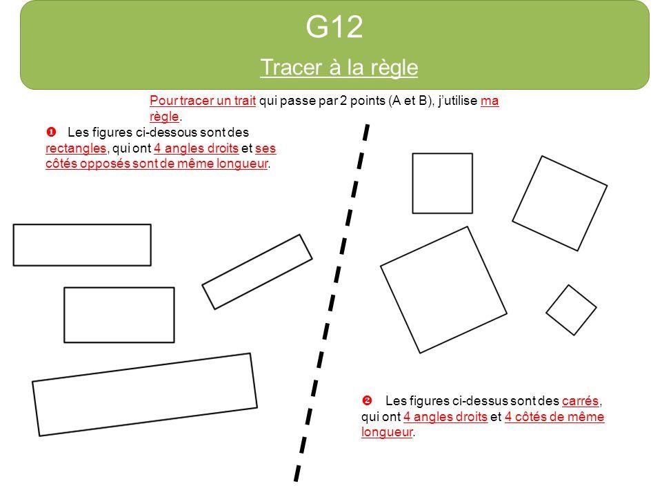 G12 Tracer à la règle Pour tracer un trait qui passe par 2 points (A et B), jutilise ma règle. Les figures ci-dessous sont des rectangles, qui ont 4 a