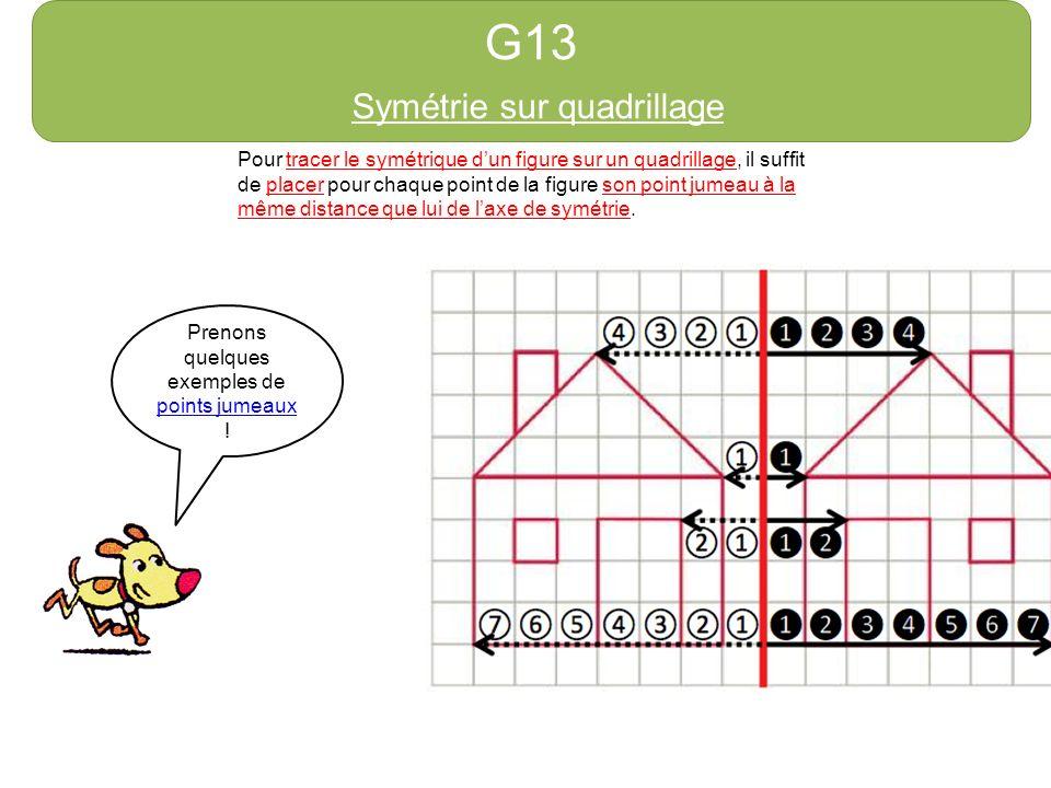G13 Symétrie sur quadrillage Pour tracer le symétrique dun figure sur un quadrillage, il suffit de placer pour chaque point de la figure son point jumeau à la même distance que lui de laxe de symétrie.
