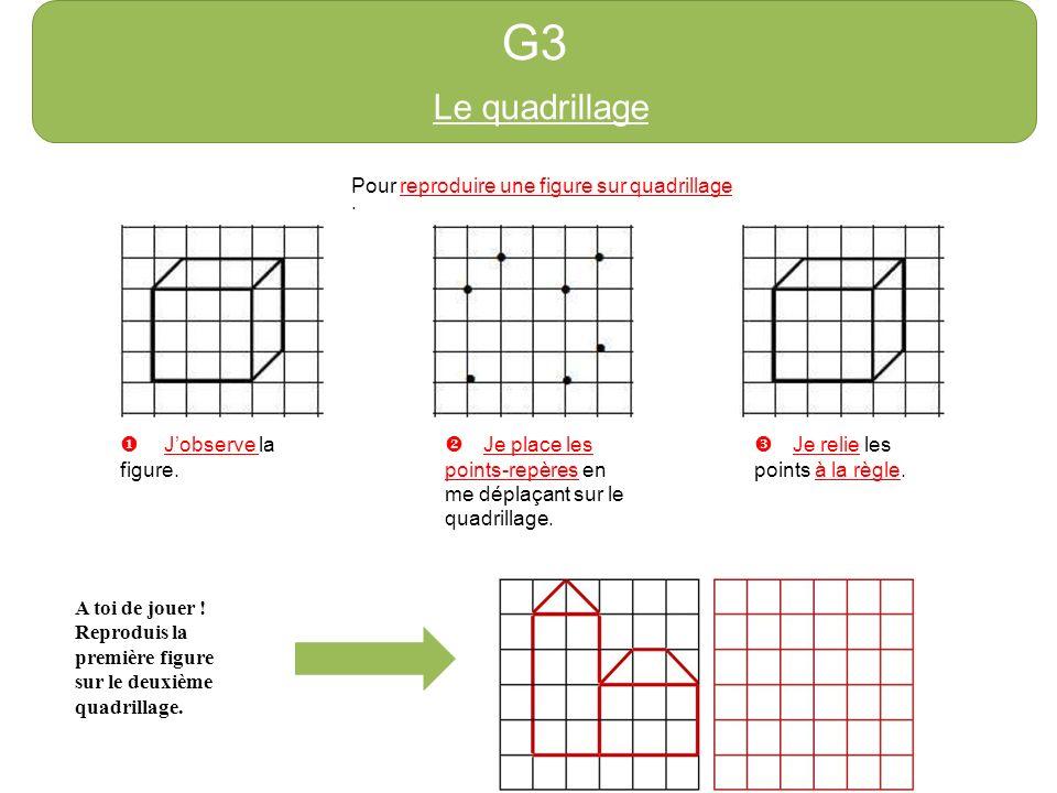 G3 Le quadrillage Pour reproduire une figure sur quadrillage : Jobserve la figure. Je place les points-repères en me déplaçant sur le quadrillage. Je