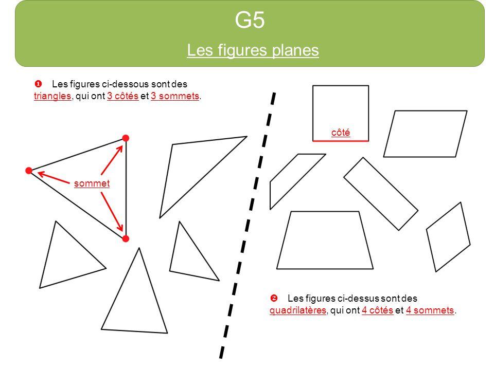 G5 Les figures planes Les figures ci-dessous sont des triangles, qui ont 3 côtés et 3 sommets. sommet côté Les figures ci-dessus sont des quadrilatère