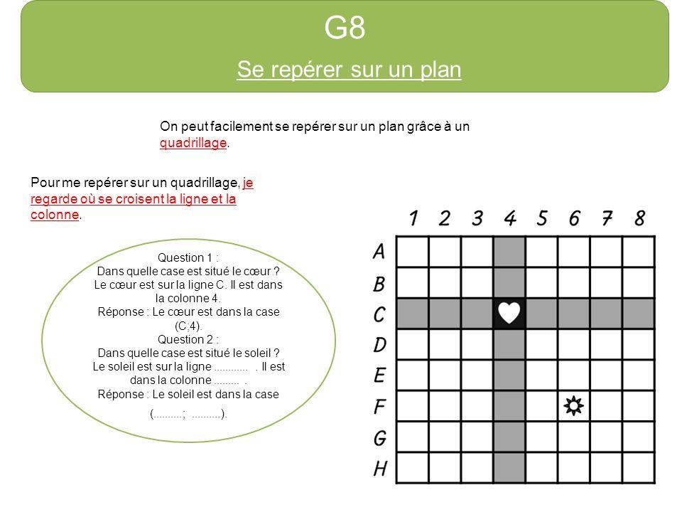 G8 Se repérer sur un plan On peut facilement se repérer sur un plan grâce à un quadrillage. Pour me repérer sur un quadrillage, je regarde où se crois
