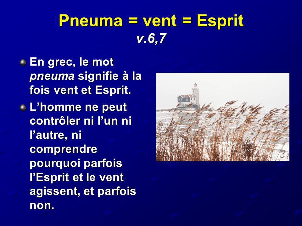 Pneuma = vent = Esprit v.6,7 En grec, le mot pneuma signifie à la fois vent et Esprit. Lhomme ne peut contrôler ni lun ni lautre, ni comprendre pourqu
