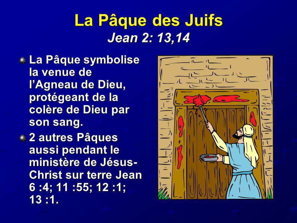 La Pâque des Juifs Jean 2: 13,14 La Pâque symbolise la venue de lAgneau de Dieu, protégeant de la colère de Dieu par son sang. 2 autres Pâques aussi p