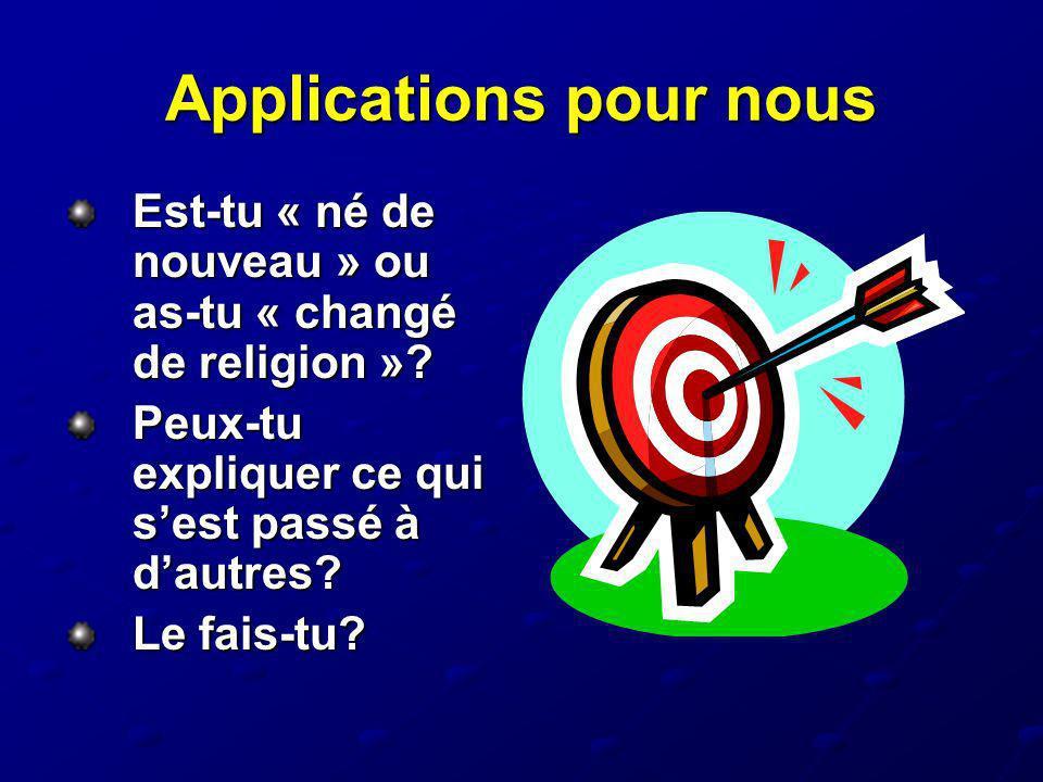 Applications pour nous Est-tu « né de nouveau » ou as-tu « changé de religion »? Peux-tu expliquer ce qui sest passé à dautres? Le fais-tu?