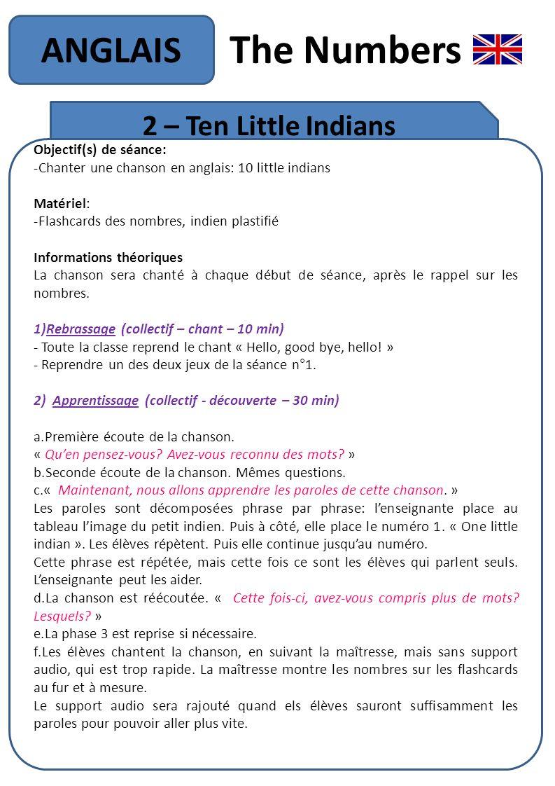The Numbers ANGLAIS 2 – Ten Little Indians Objectif(s) de séance: -Chanter une chanson en anglais: 10 little indians Matériel: -Flashcards des nombres