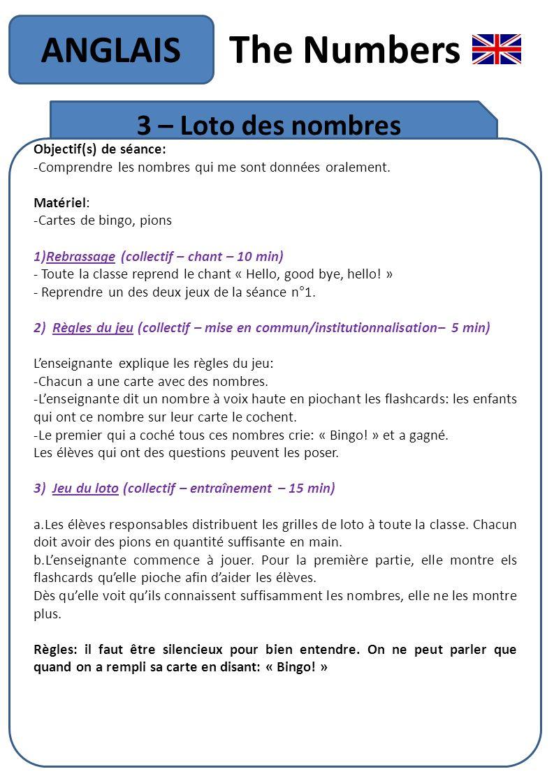 The Numbers ANGLAIS 3 – Loto des nombres Objectif(s) de séance: -Comprendre les nombres qui me sont données oralement. Matériel: -Cartes de bingo, pio