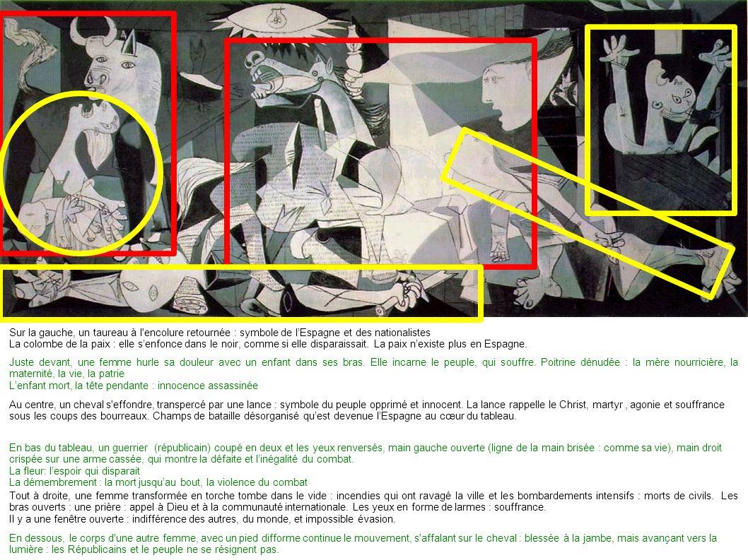 Sur la gauche, un taureau à l encolure retournée : symbole de lEspagne et des nationalistes La colombe de la paix : elle senfonce dans le noir, comme si elle disparaissait.