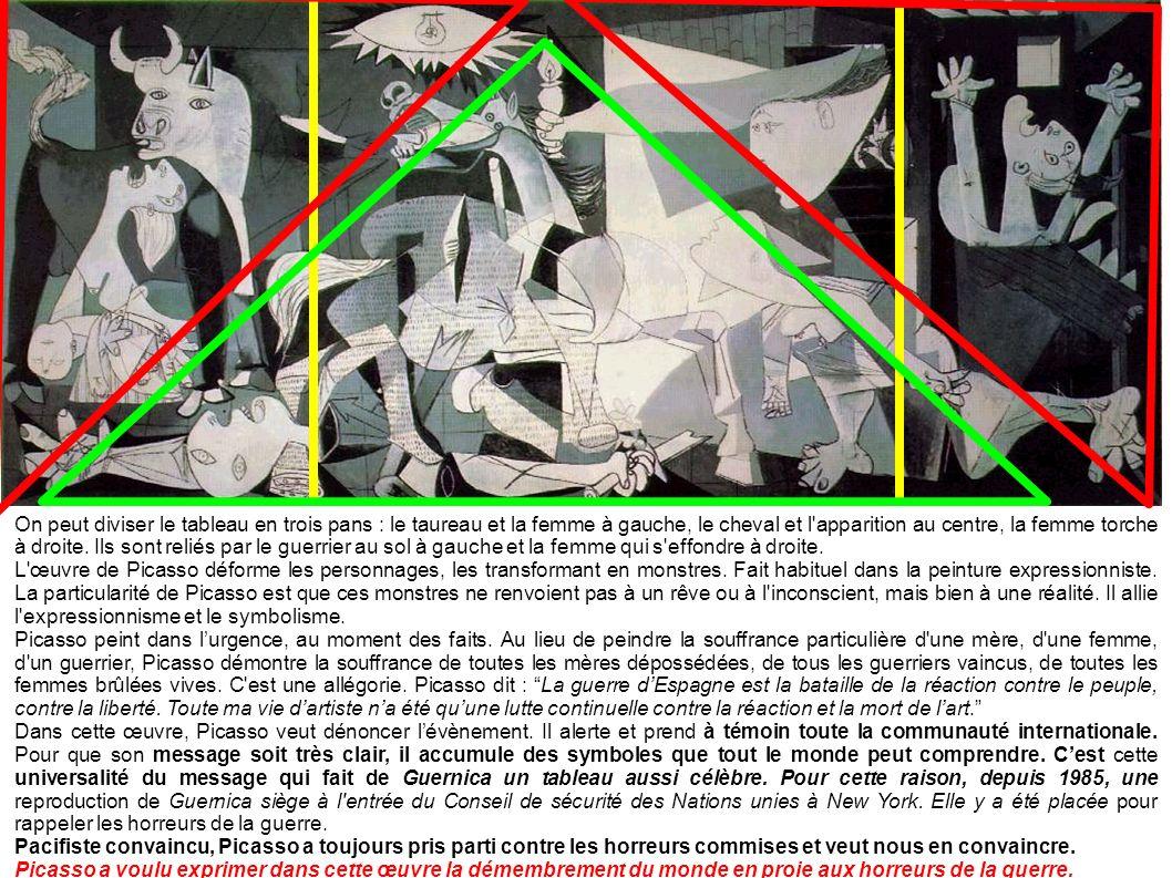 On peut diviser le tableau en trois pans : le taureau et la femme à gauche, le cheval et l apparition au centre, la femme torche à droite.